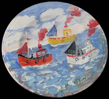 Simeon Stafford Original Painting On A Plate Of Fishing Boats